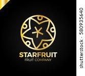 carambola  star fruit slice on... | Shutterstock .eps vector #580935640