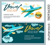 vector gift travel voucher... | Shutterstock .eps vector #580936300