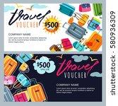vector gift travel voucher... | Shutterstock .eps vector #580936309
