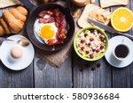 breakfast including coffee ... | Shutterstock . vector #580936684