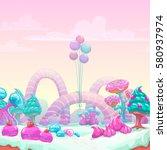 beautiful fantasy sweet world... | Shutterstock .eps vector #580937974