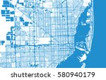 vector city map of miami ... | Shutterstock .eps vector #580940179