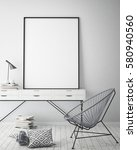 mock up poster frame in hipster ... | Shutterstock . vector #580940560