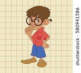 boy thinks | Shutterstock .eps vector #580941586