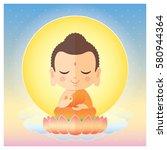 cute cartoon buddha sitting on... | Shutterstock .eps vector #580944364