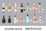 set of different bottles of... | Shutterstock .eps vector #580944520