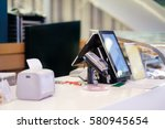 cash desk with order screen and ... | Shutterstock . vector #580945654
