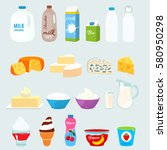 set of fresh natural dairy... | Shutterstock .eps vector #580950298