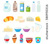 set of fresh natural dairy... | Shutterstock .eps vector #580950316