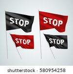 stop   black and red vector... | Shutterstock .eps vector #580954258