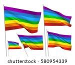 rainbow vector flags. a set of...   Shutterstock .eps vector #580954339