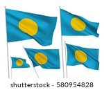 palau vector flags set. 5 wavy...