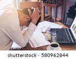 serious business man working on ... | Shutterstock . vector #580962844