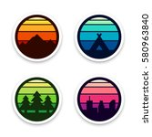 set of vector adventure badges... | Shutterstock .eps vector #580963840