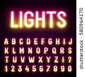 glowing neon tube font. retro... | Shutterstock .eps vector #580964170