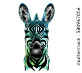head of zebra  vector color... | Shutterstock .eps vector #580967056