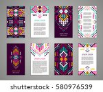 aztec style colorful vertical... | Shutterstock .eps vector #580976539