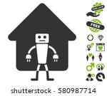home robot pictograph with... | Shutterstock .eps vector #580987714