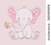 Stock vector cute elephant with a flower cartoon hand drawn vector illustration can be used for baby t shirt 580989898