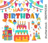 happy birthday concept. set of...   Shutterstock .eps vector #580990534