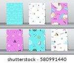 set of seamless pattern retro... | Shutterstock .eps vector #580991440
