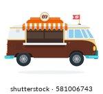 coffee shop on wheels vector... | Shutterstock .eps vector #581006743