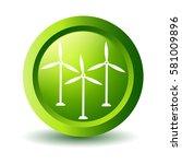 vector green wind turbine  label   Shutterstock .eps vector #581009896