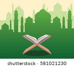 illustration of holy qoran on... | Shutterstock .eps vector #581021230