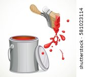 iron bank with paint and brush... | Shutterstock .eps vector #581023114