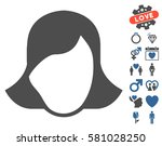 lady face template pictograph... | Shutterstock .eps vector #581028250