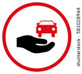 car gift hand rounded icon.... | Shutterstock .eps vector #581028964