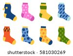 flat design colorful socks set... | Shutterstock .eps vector #581030269