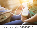 automatic breast pump  mothers... | Shutterstock . vector #581030518