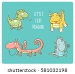 cute cartoon dragons set. four...