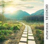 sunset in the woods corridor | Shutterstock . vector #581034280