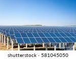solar power plant under the... | Shutterstock . vector #581045050