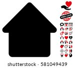 cabin icon with bonus amour... | Shutterstock .eps vector #581049439