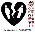 broken family heart icon with... | Shutterstock .eps vector #581049778