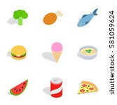 healthy food icons set.... | Shutterstock . vector #581059624