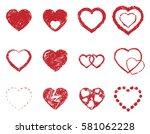 hearts sketch | Shutterstock .eps vector #581062228