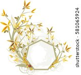 frame colorful flower ornaments ... | Shutterstock .eps vector #581065924