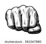 fist  hand gesture sketch.... | Shutterstock .eps vector #581067880