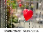 Red Hearts On Rusty Chain...