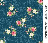 seamless floral pattern with... | Shutterstock .eps vector #581077984