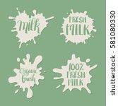 hand drawn milk splash badge or ... | Shutterstock .eps vector #581080330