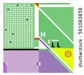 trendy vector summer cards... | Shutterstock .eps vector #581083858