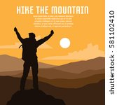 hiking and mountaineering poster | Shutterstock .eps vector #581102410