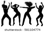Four Black Silhouette Dancing...