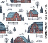 farm country seamless pattern.... | Shutterstock .eps vector #581125246