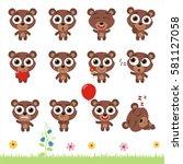 big set cute little teddy bear. ... | Shutterstock .eps vector #581127058